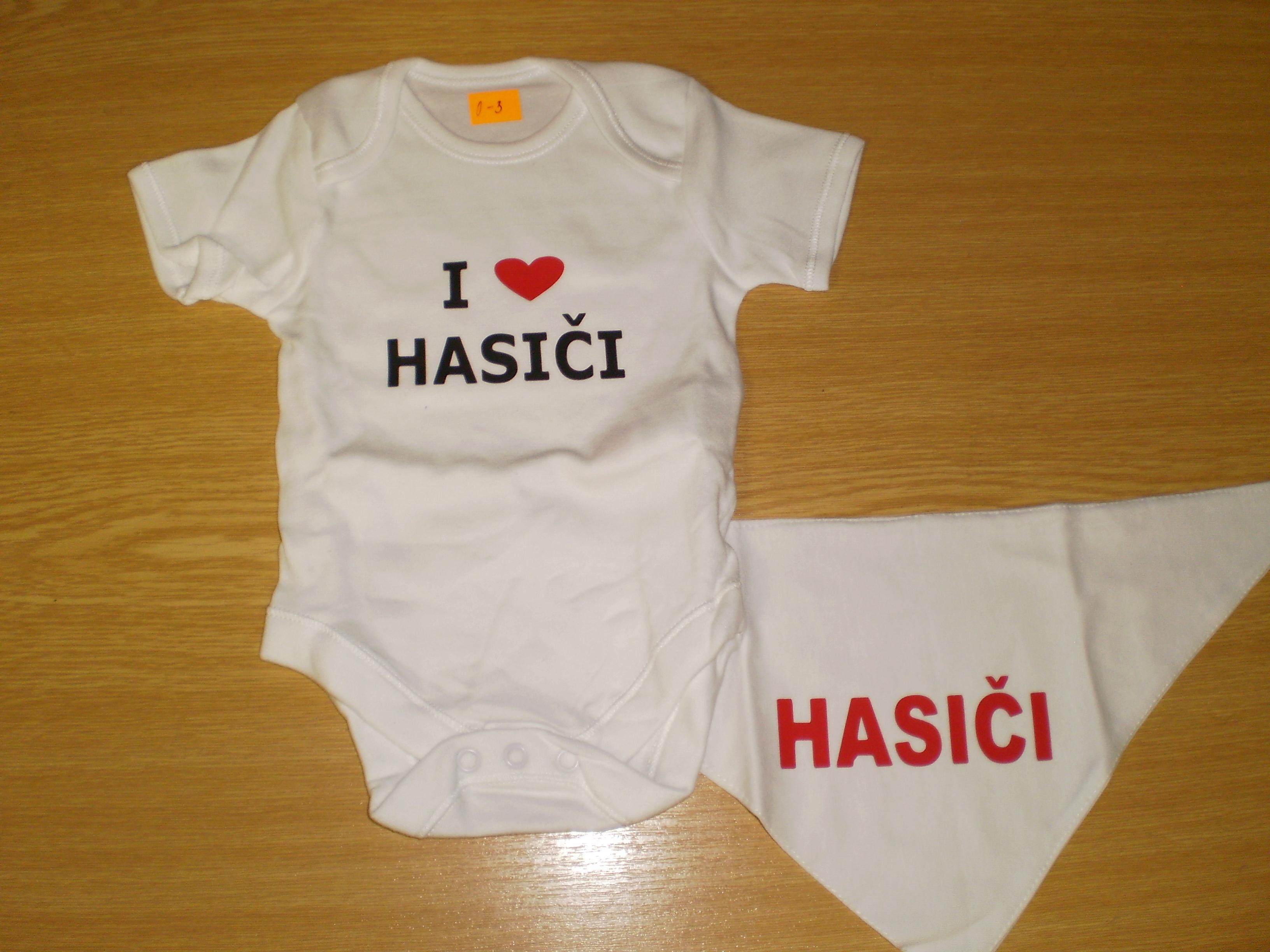 e64a708228f Dětský set - body a šáteček s nápisem HASIČI